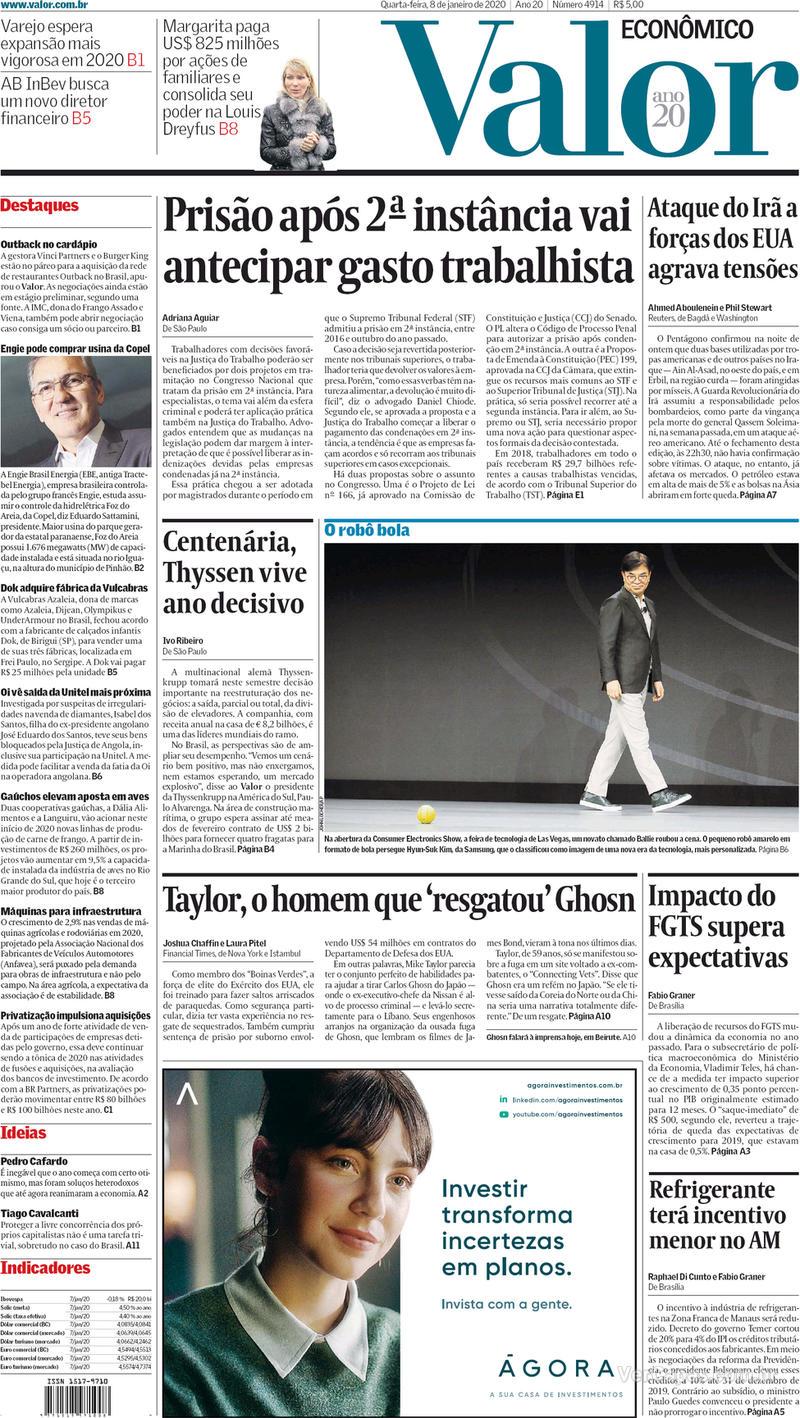 Capa do jornal Valor Econômico 08/01/2020
