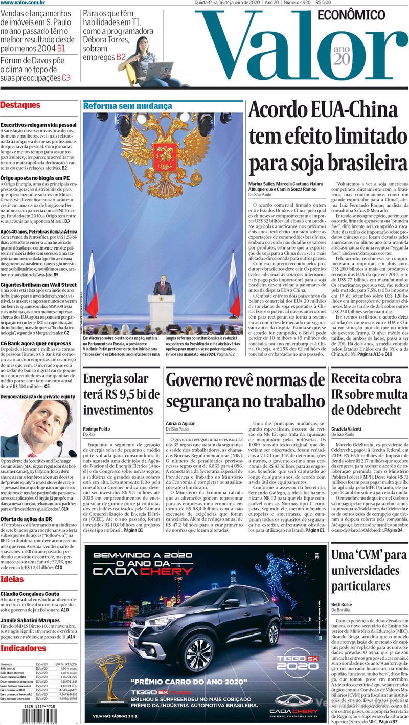 Capa do jornal Valor Econômico 16/01/2020