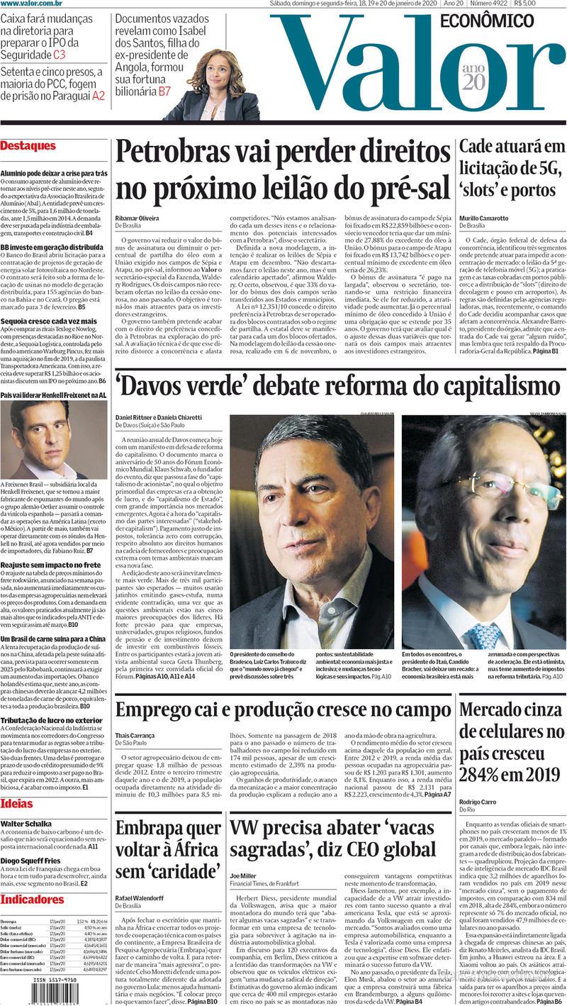 Capa do jornal Valor Econômico 20/01/2020