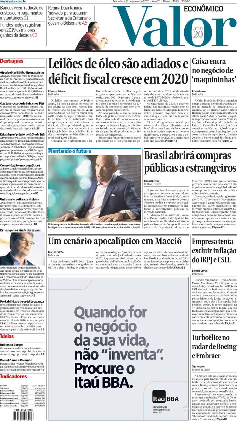Capa do jornal Valor Econômico 21/01/2020