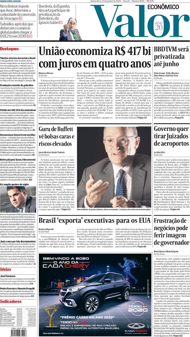 Capa do jornal Valor Econômico 23/01/2020