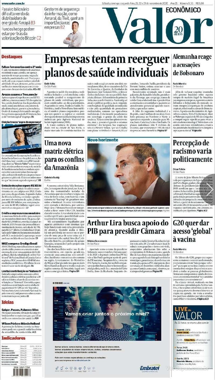 Capa do jornal Valor Econômico 23/11/2020