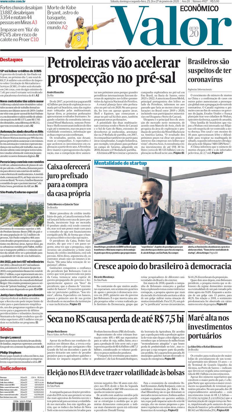 Capa do jornal Valor Econômico 27/01/2020