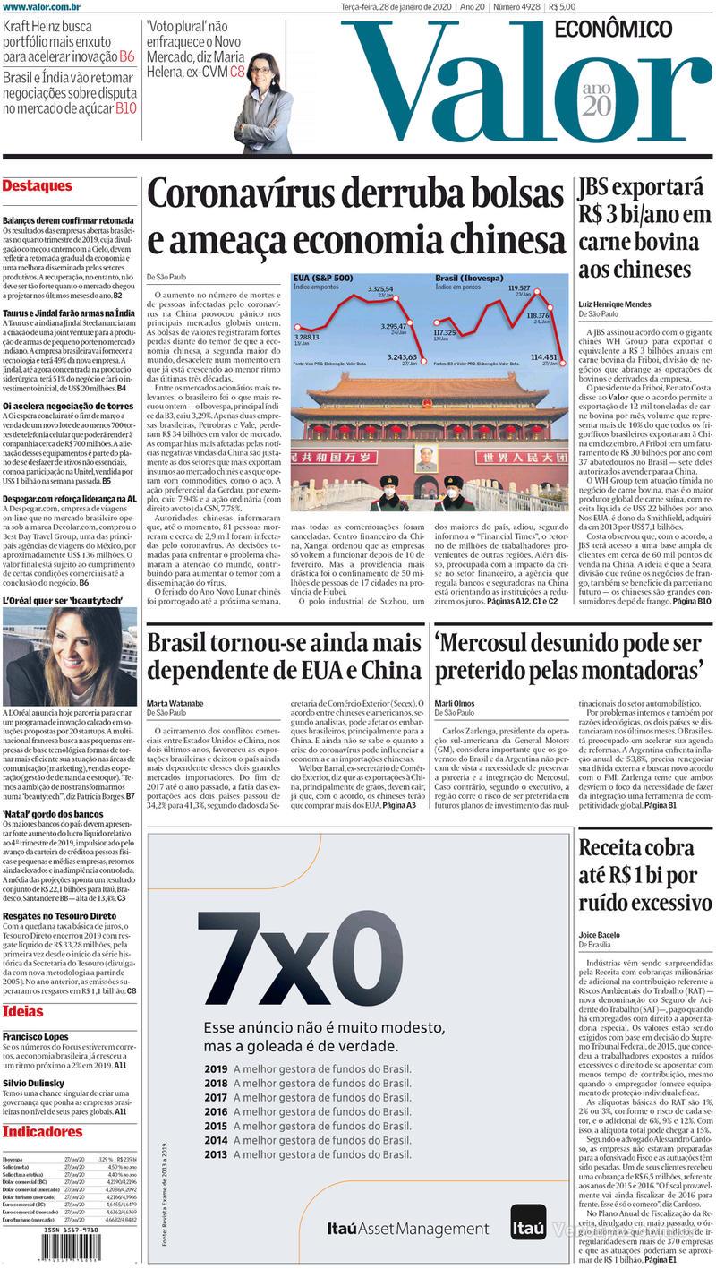 Capa do jornal Valor Econômico 28/01/2020