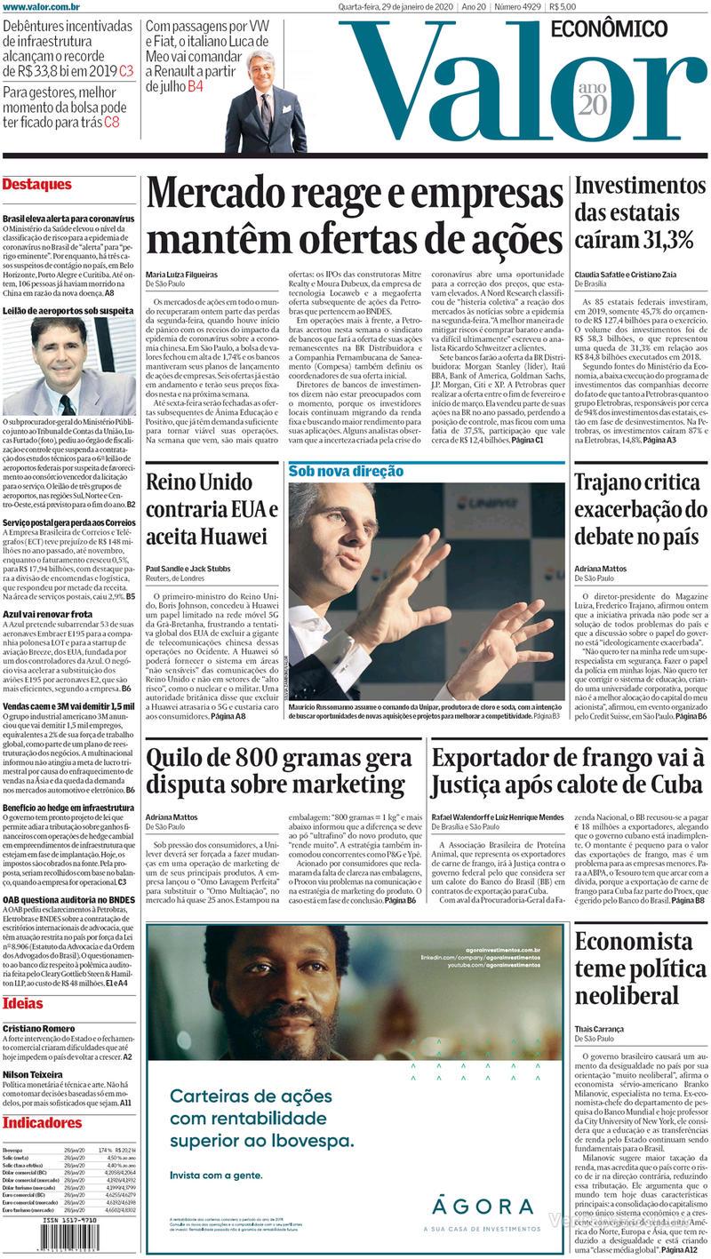 Capa do jornal Valor Econômico 29/01/2020