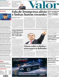 Capa do jornal Valor Econômico 09/01/2020