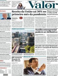 Capa do jornal Valor Econômico 12/05/2020