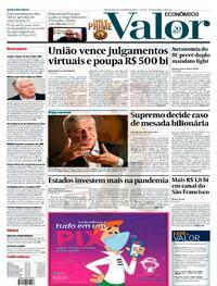 Capa do jornal Valor Econômico 21/10/2020