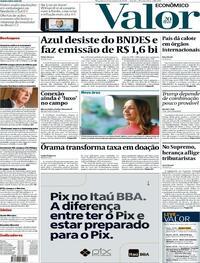 Capa do jornal Valor Econômico 27/10/2020