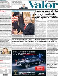 Capa do jornal Valor Econômico 30/01/2020