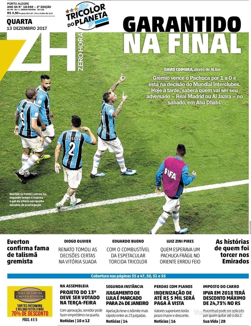 Capa Zero Hora 2017-12-13