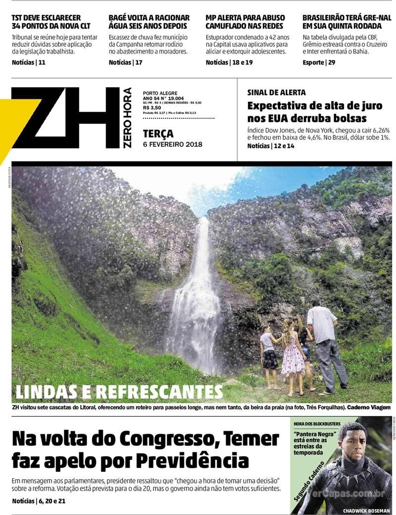 Capa Zero Hora 2018-02-06