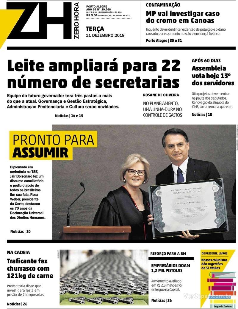 Capa Zero Hora 2018-12-11