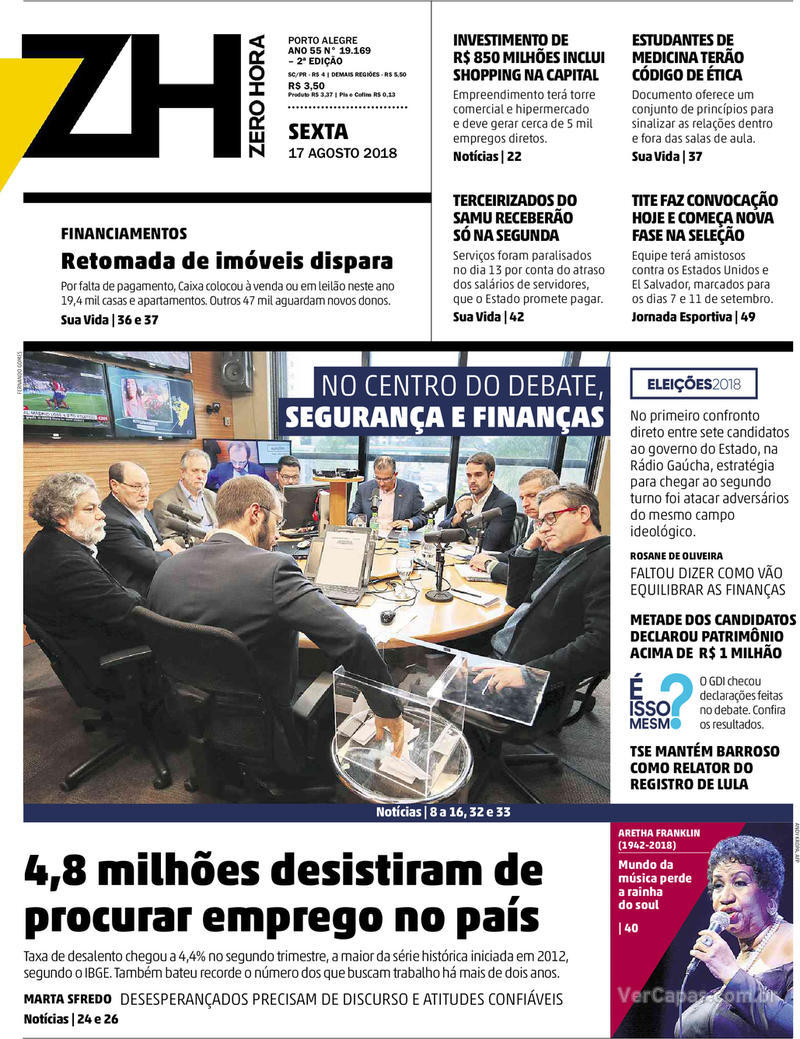 Capa Zero Hora 2018-08-17