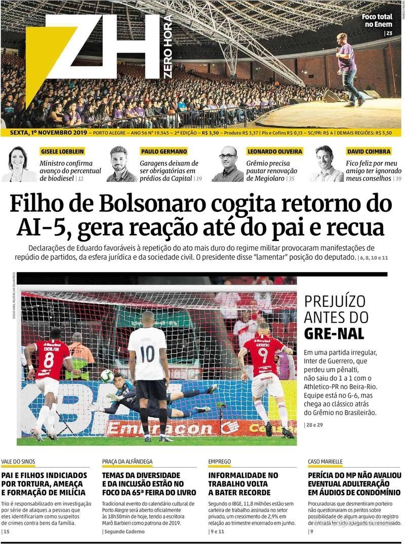Capa do jornal Zero Hora 01/11/2019