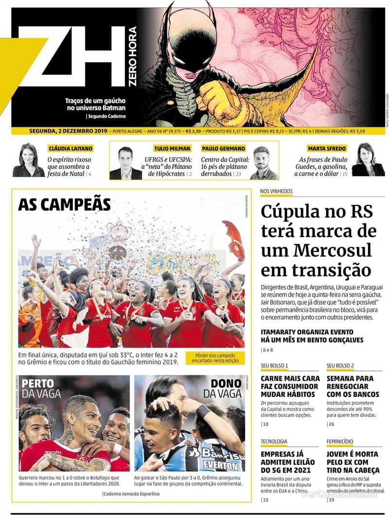 Capa do jornal Zero Hora 02/12/2019