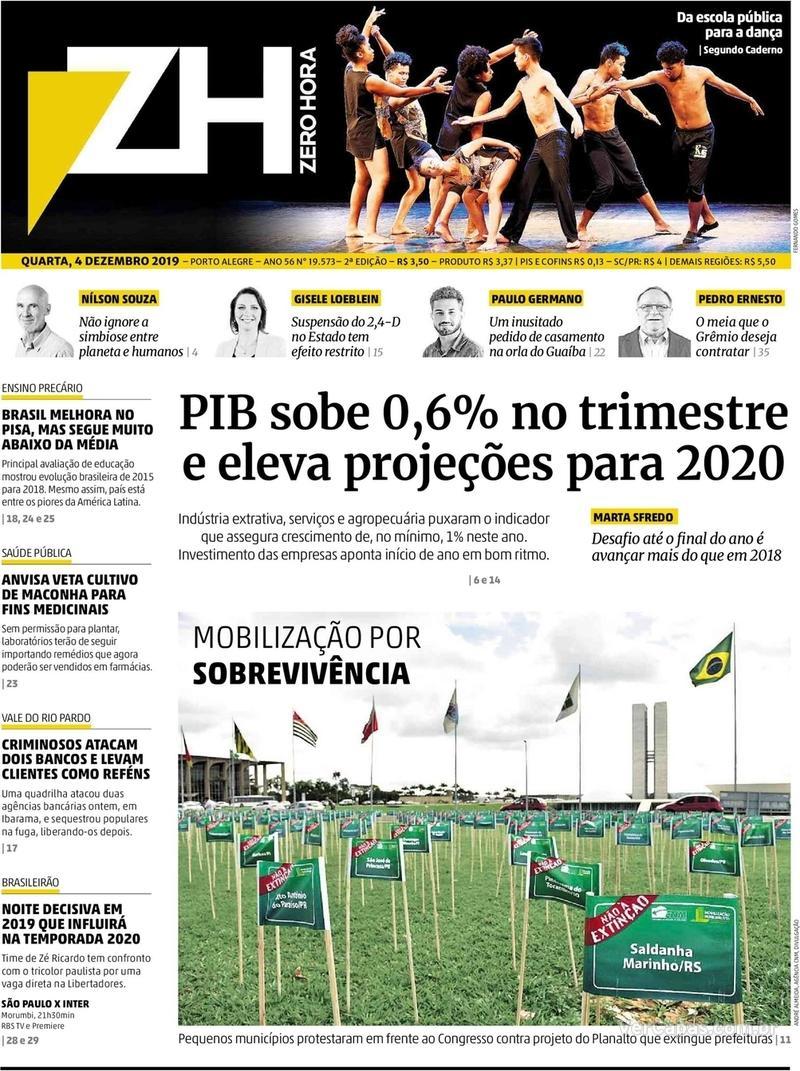 Capa do jornal Zero Hora 04/12/2019