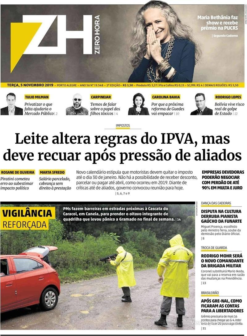 Capa do jornal Zero Hora 05/11/2019
