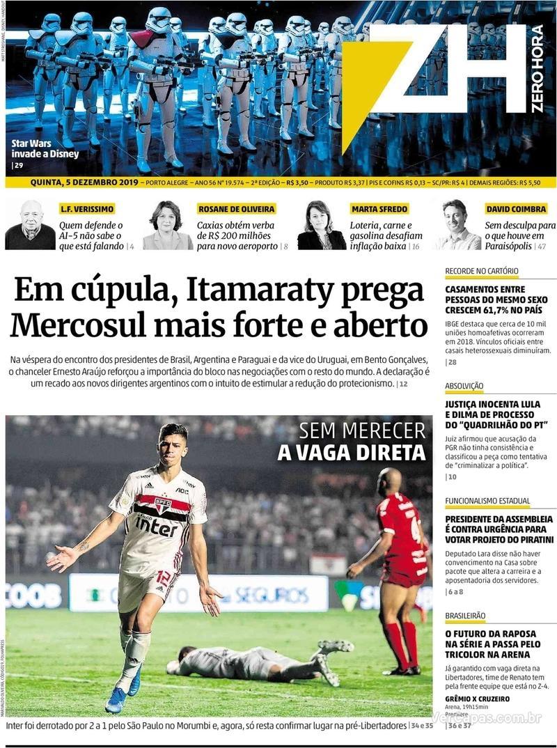 Capa do jornal Zero Hora 05/12/2019