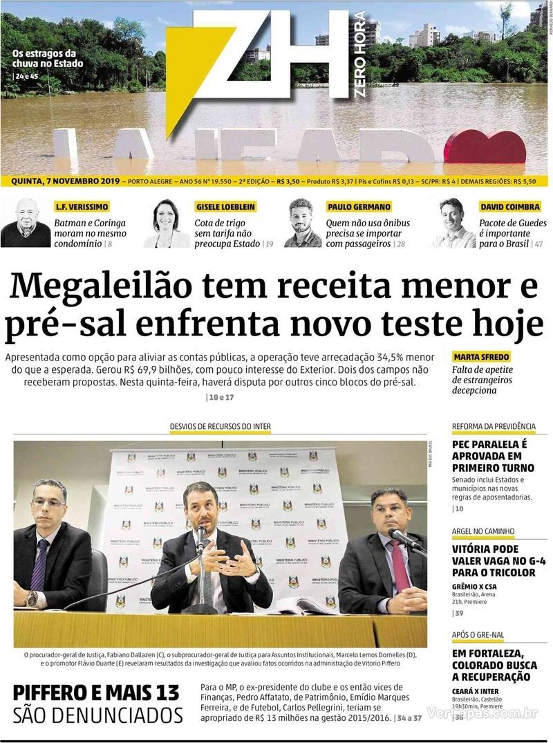 Capa do jornal Zero Hora 07/11/2019