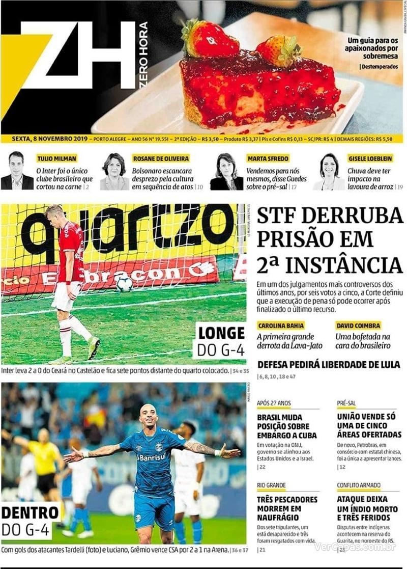 Capa do jornal Zero Hora 08/11/2019