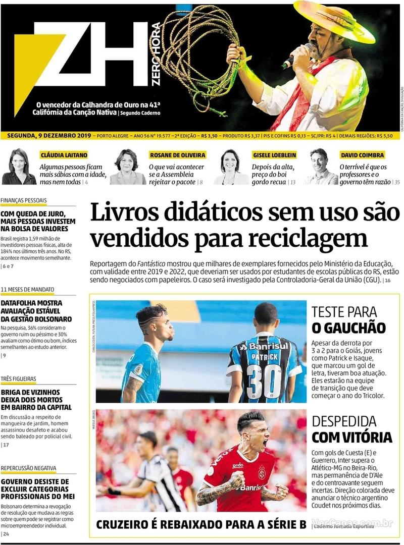 Capa do jornal Zero Hora 09/12/2019