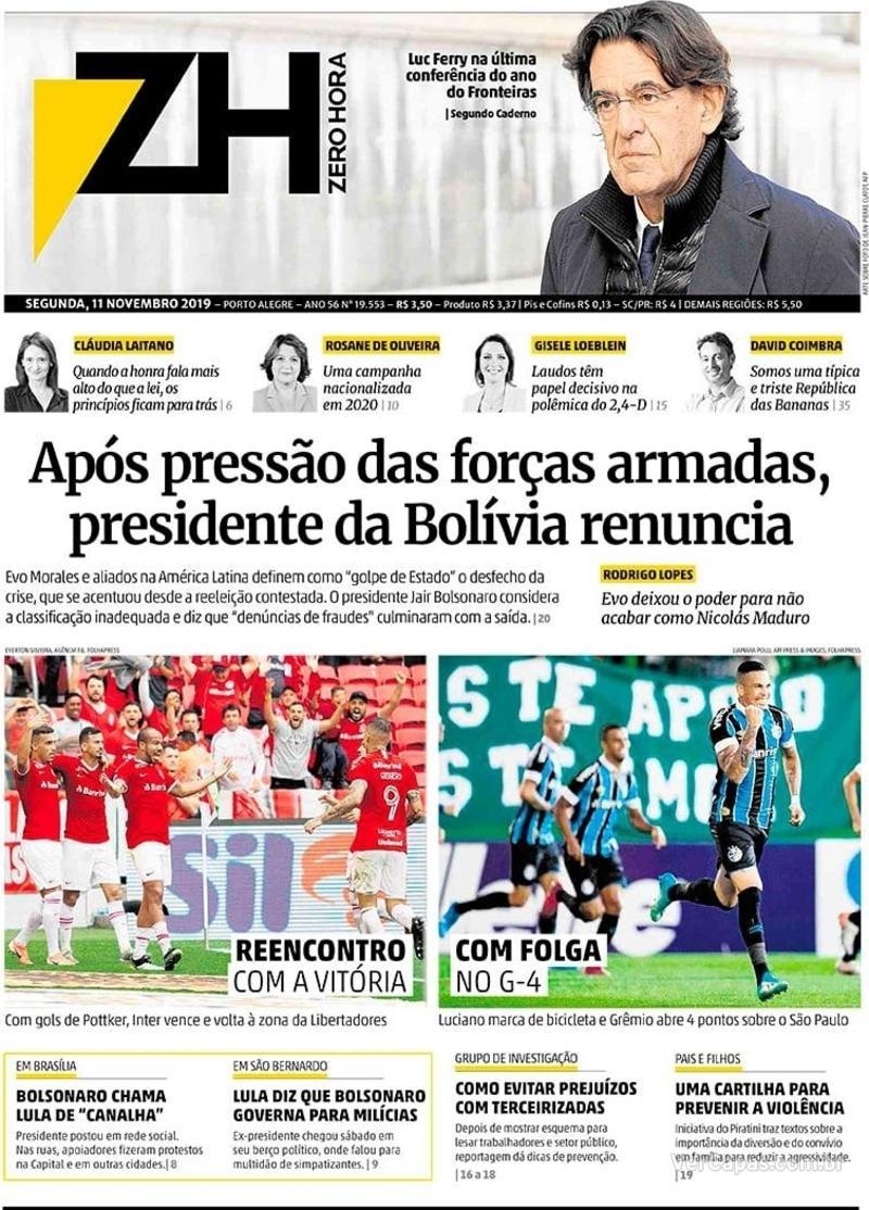Capa do jornal Zero Hora 11/11/2019
