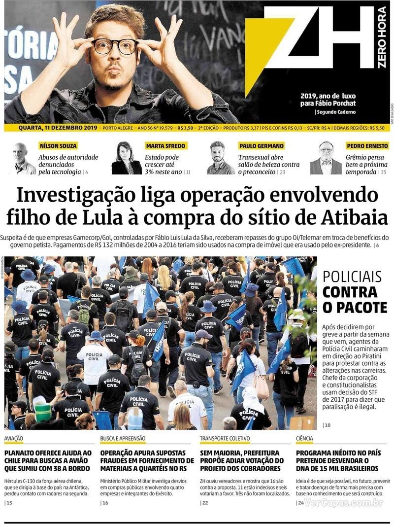 Capa do jornal Zero Hora 11/12/2019