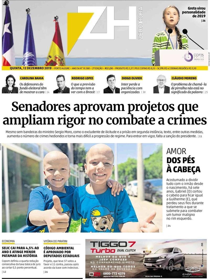 Capa do jornal Zero Hora 12/12/2019