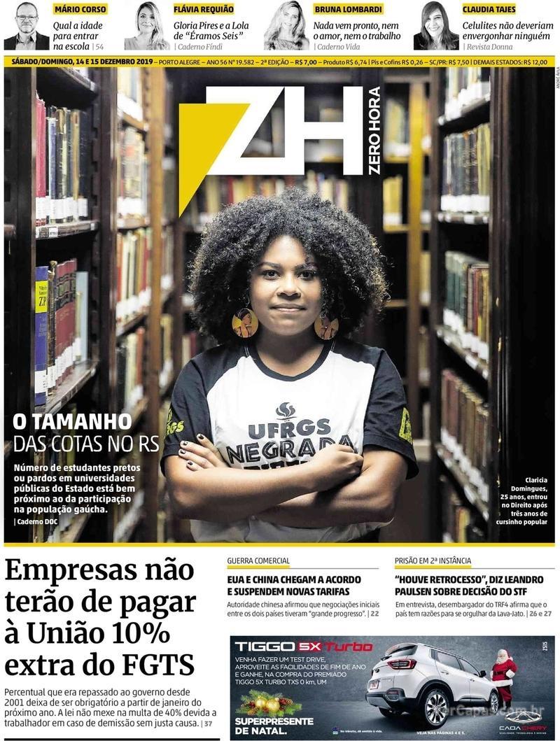 Capa do jornal Zero Hora 14/12/2019