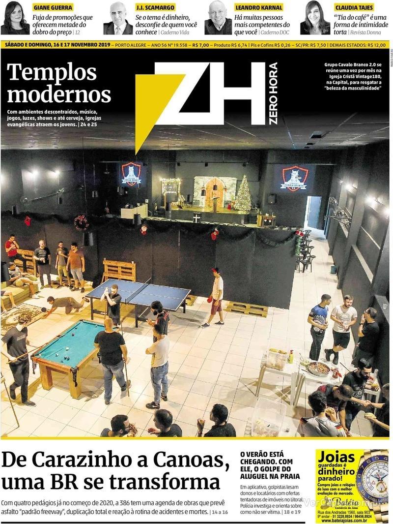 Capa do jornal Zero Hora 16/11/2019