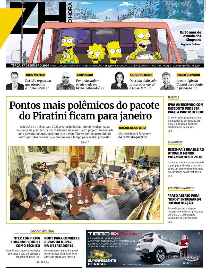Capa do jornal Zero Hora 17/12/2019