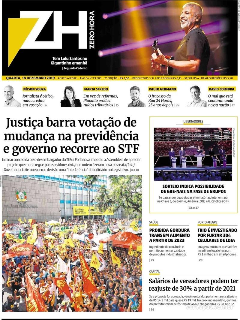Capa do jornal Zero Hora 18/12/2019