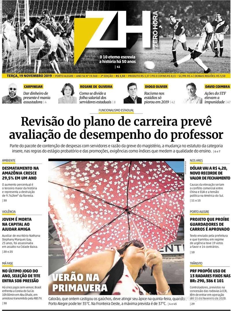 Capa do jornal Zero Hora 19/11/2019