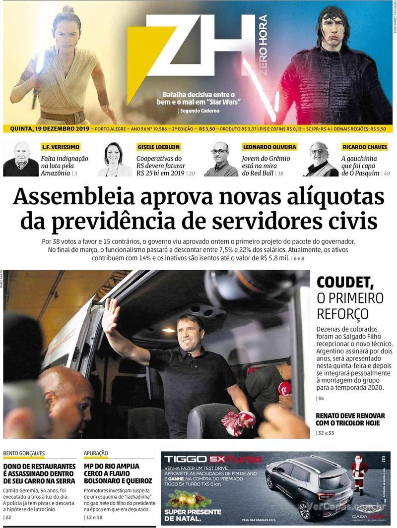 Capa do jornal Zero Hora 19/12/2019