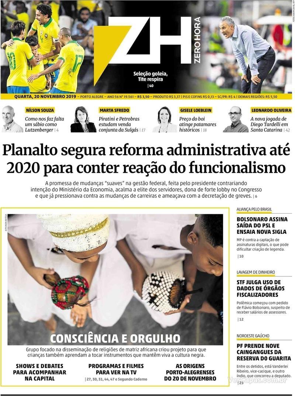 Capa do jornal Zero Hora 20/11/2019