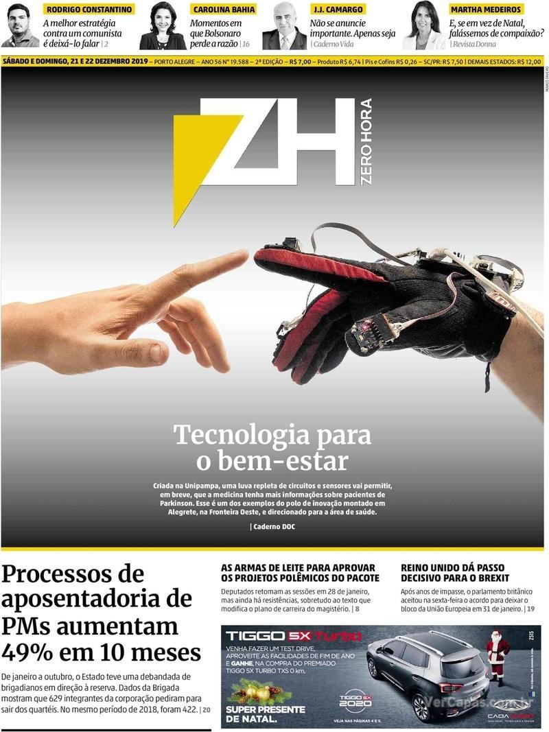 Capa do jornal Zero Hora 21/12/2019