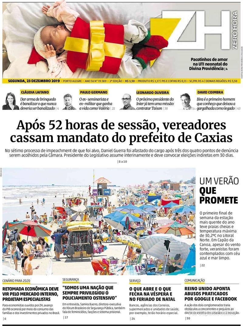 Capa do jornal Zero Hora 23/12/2019