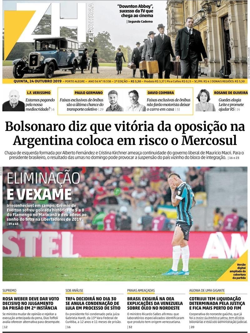 Capa do jornal Zero Hora 24/10/2019