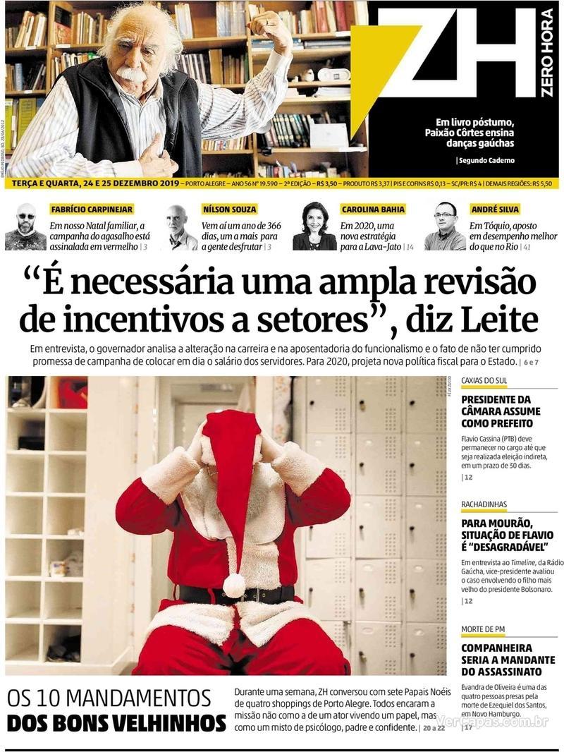 Capa do jornal Zero Hora 24/12/2019