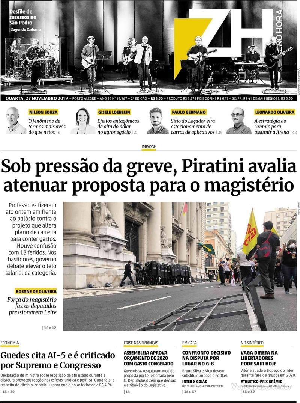 Capa do jornal Zero Hora 27/11/2019