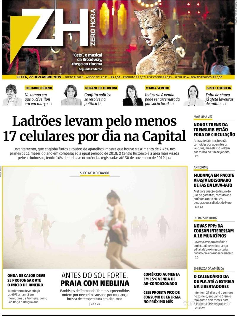 Capa do jornal Zero Hora 27/12/2019