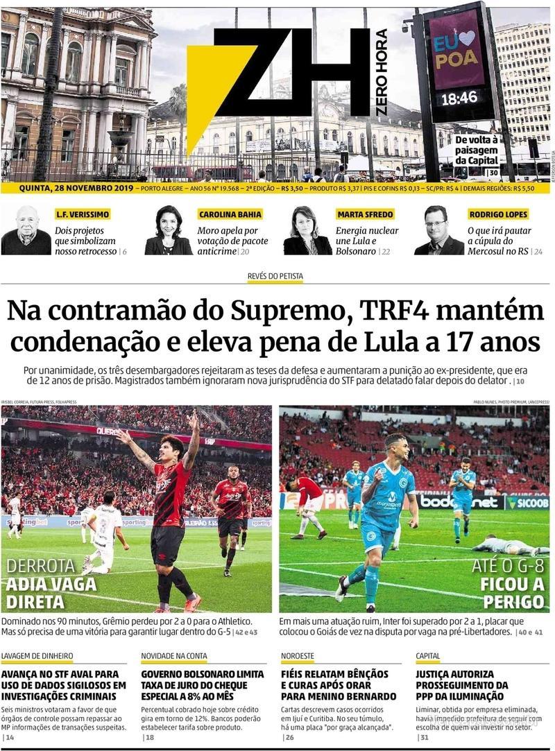 Capa do jornal Zero Hora 28/11/2019