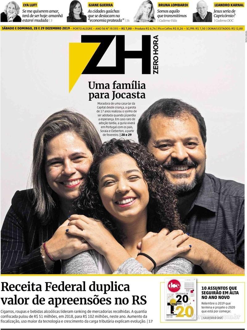 Capa do jornal Zero Hora 28/12/2019