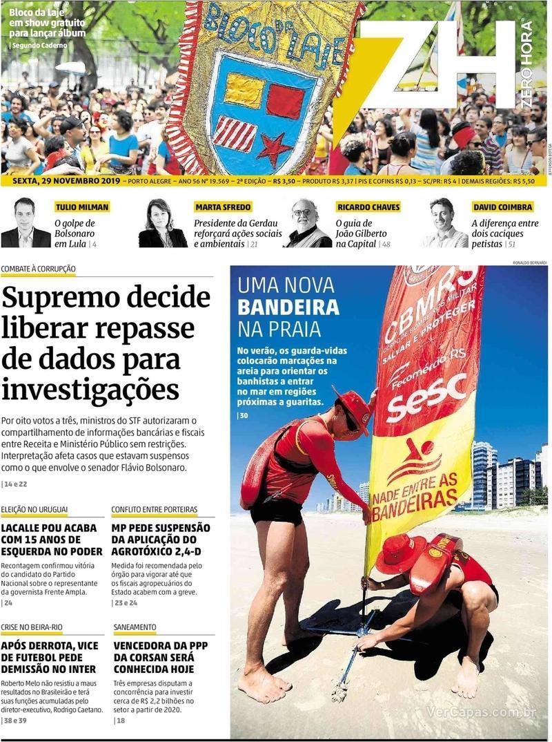 Capa do jornal Zero Hora 29/11/2019