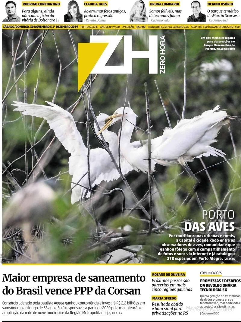 Capa do jornal Zero Hora 30/11/2019