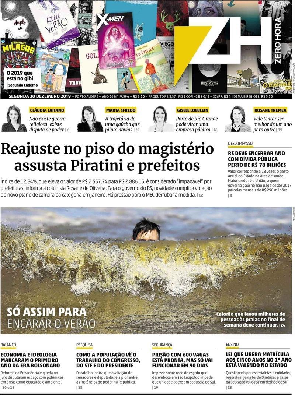 Capa do jornal Zero Hora 30/12/2019