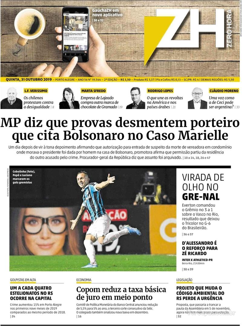 Capa do jornal Zero Hora 31/10/2019