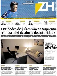 Capa do jornal Zero Hora 01/10/2019