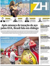 Capa do jornal Zero Hora 03/12/2019